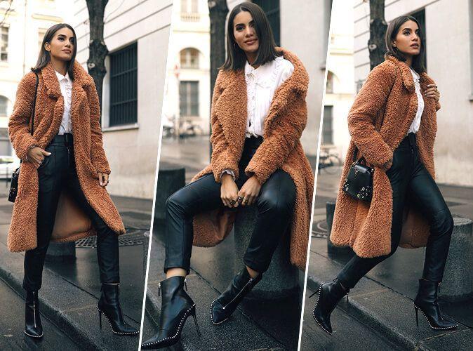 Couleurs variées e3bc7 af366 Camila Coelho : Parisienne en manteau Teddy Bear et bottines ...