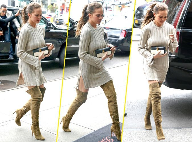 Chrissy Teigen Robe Pull Et Cuissardes Pour Un Look De Mi Saison Ultra Style