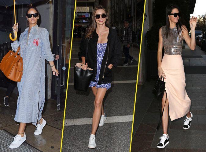 Photos  Tendances  Rihanna, Miranda, Kendall.. Toutes fans du combo robe/ baskets !