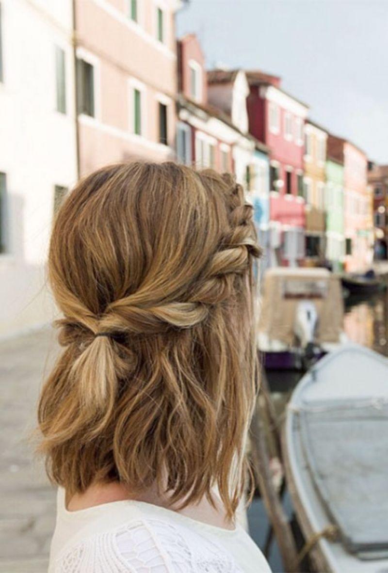 Coiffure avec tresse pour cheveux mi long