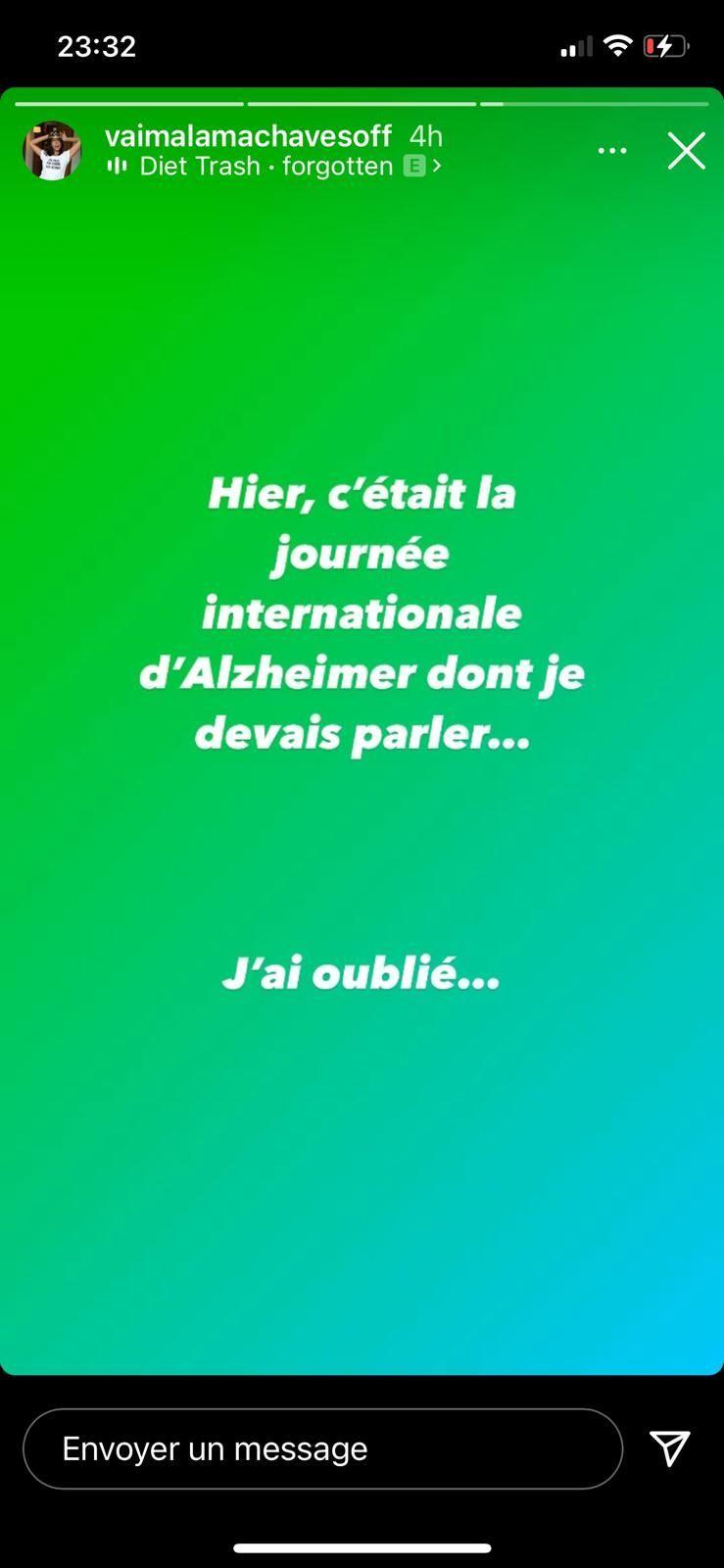 La blague de Vaimalama Chaves sur la maladie d'Alzheimer
