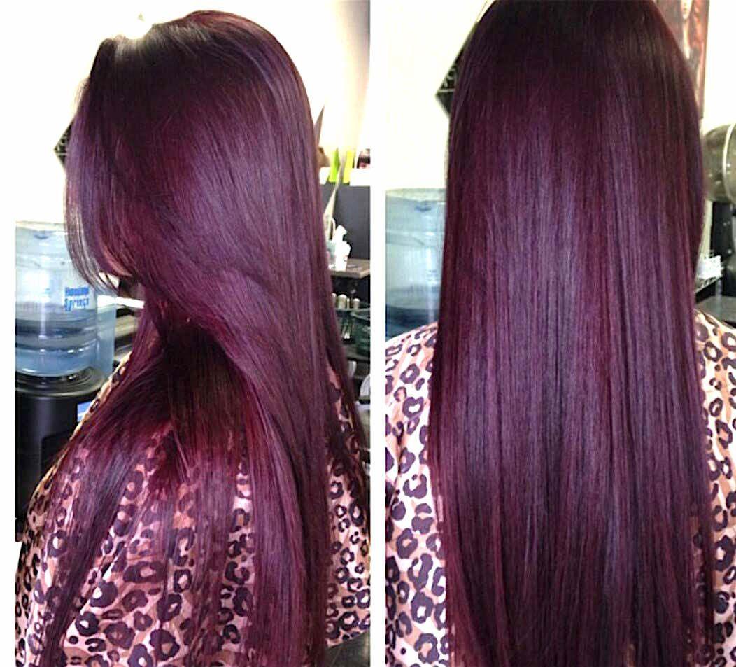 Coloration cheveux violet aubergine