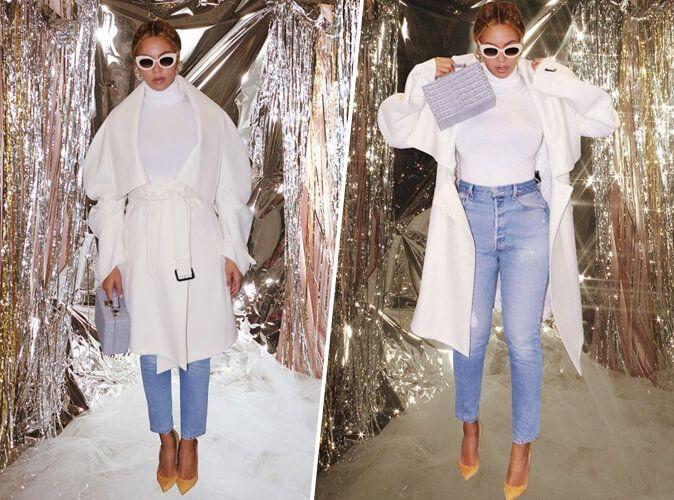 Beyoncé : Casual chic en manteau blanc, mom jean et escarpins moutarde