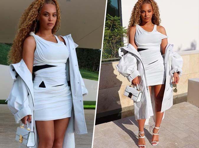 Beyoncé : Mini-robe, it-bag, stilettos... On craque pour son total look white !