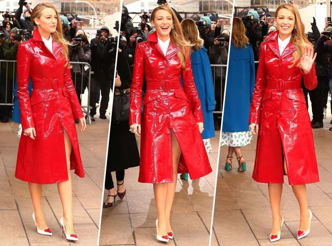 Blake Lively : Qui valide son trench rouge en vinyle ?