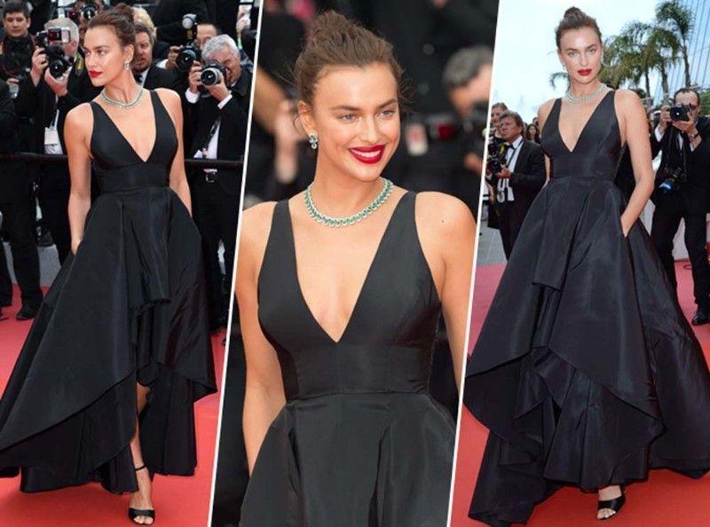 Cannes 2018 Robe Magistrale Noire Et Sandales à Talons Irina