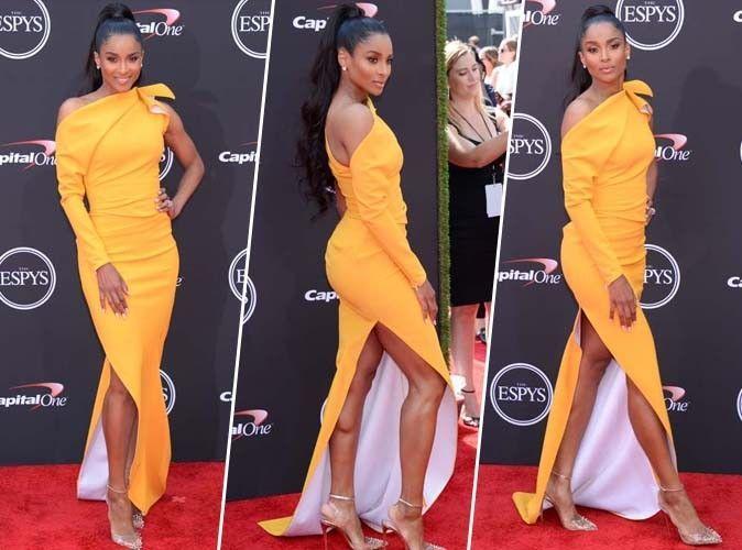 Ciara : maxi robe jaune ultra sexy, on craque totalement !
