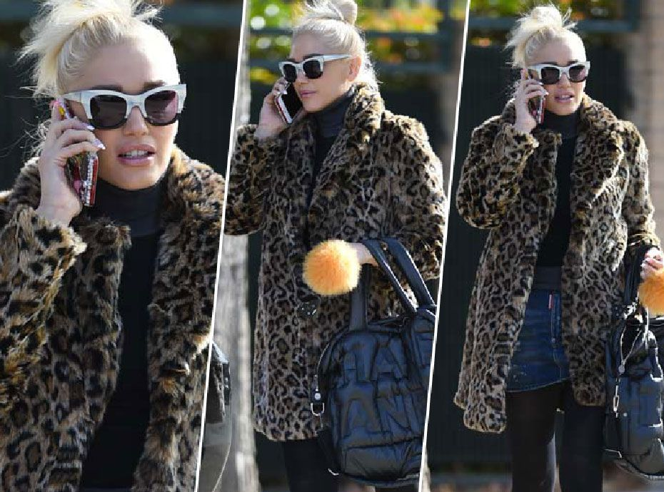 Gwen Stefani : manteau léopard et mini jupe en jean... Casual et tendance dans son look vintage
