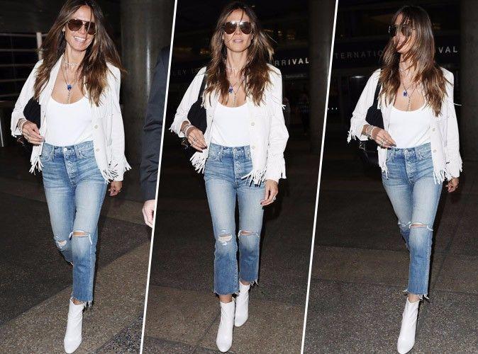 Heidi Klum : Veste à franges et boots blanches pour un look de cow girl réussi !