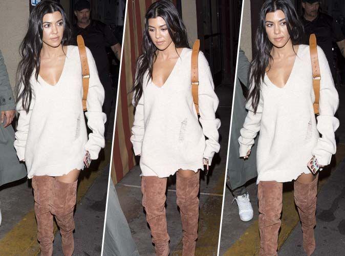 Kourtney Kardashian : Casual chic en robe pull nude et cuissardes en daim camel !