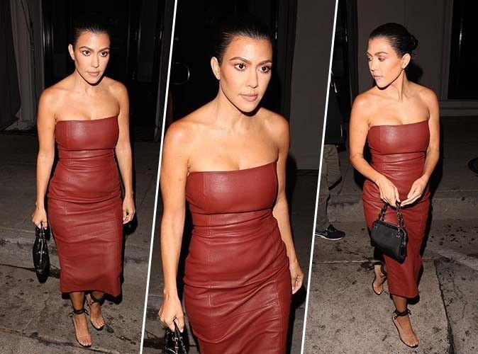 Kourtney Kardashian : robe bustier marron choco... On craque !