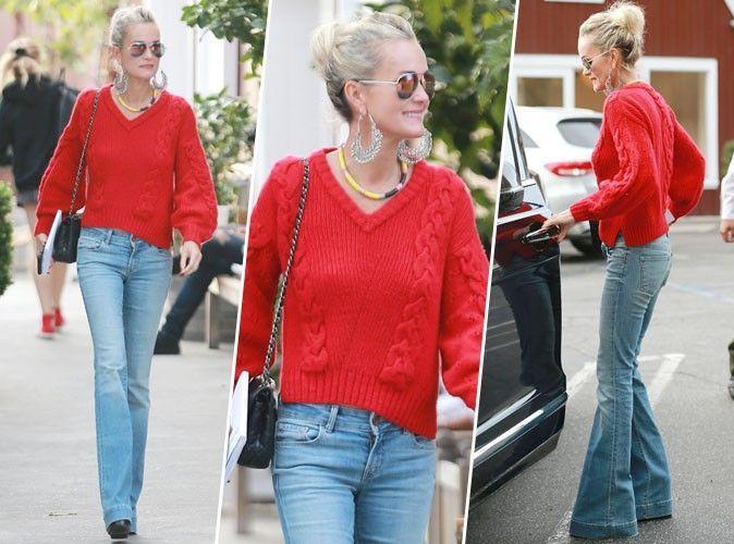 patalon jean avec pull rouge femme