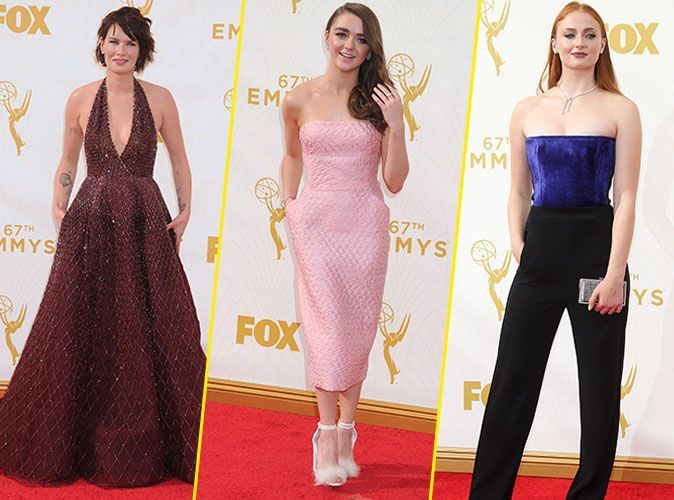 photos emmy awards 2015 lena headey maisie williams sophie turner les reines de la soir e. Black Bedroom Furniture Sets. Home Design Ideas