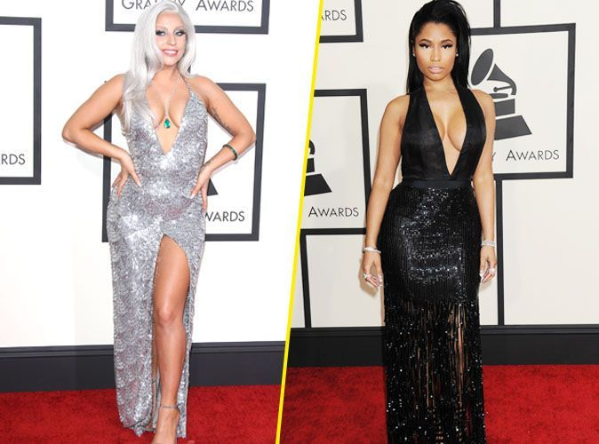 Photos  Grammy Awards 2015  Lady Gaga Vs Nicki Minaj  Battle De Dcollet Plongeant -8398