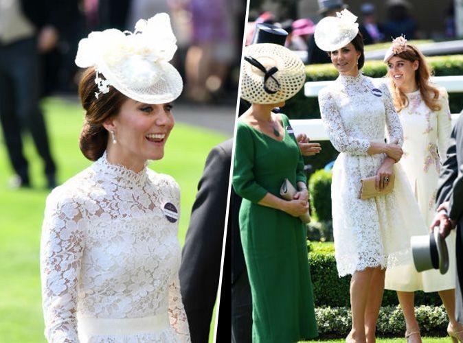 Kate Middleton en une robe de soirée blanche courte à manche longue en dentelle au premier Royal Ascot