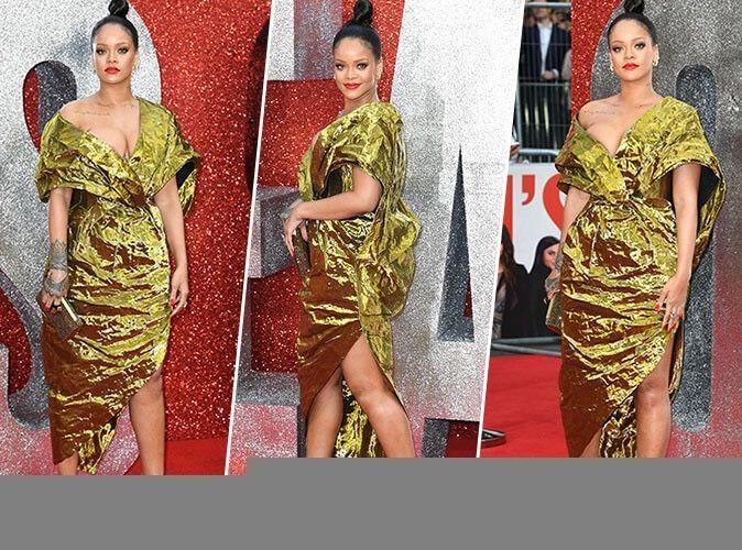 Rihanna : robe asymétrique, sandales à talons, minaudière... Un total look gold parfait