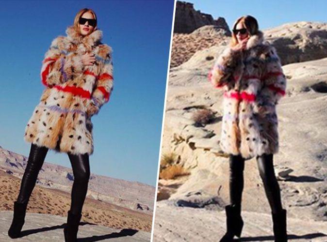 Rosie Huntington-Whiteley : Pantalon en cuir, fausse fourrure colorée... on craque !