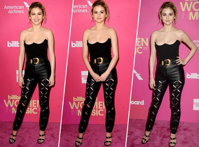Selena Gomez : Pantalon taille haute en cuir, bustier, mules cloutées... On valide son total look black !
