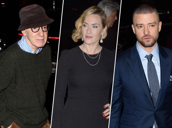 Woody Allen : Le réalisateur accompagné de Kate Winslet et Justin Timberlake à la première de Wonder Wheel