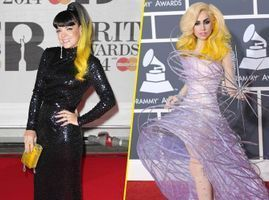 Photos : Brit Awards 2014 : Lily Allen : inspirée par Lady Gaga pour sa chevelure jaune ?