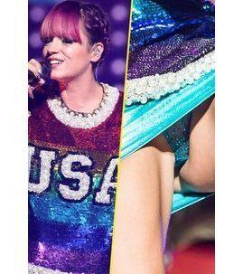 Photos : Lily Allen : en tournée avec Miley Cyrus, elle fait dans les paillettes... Jusqu'à la petite culotte !