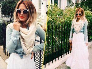 Caroline Receveur : longue jupe blanche et chemise en jean... Le combo parfait pour cet été !
