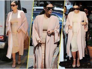 Kim Kardashian : même enceinte elle assure en robe moulante !