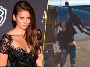 Nina Dobrev : découvrez sa magistrale chute à la sortie d'un avion !