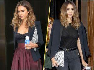 Photos : Jessica Alba : une veste, deux looks !