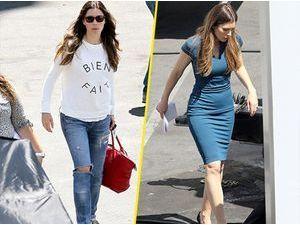 Photos : Jessica Biel : abandonne son look casual chic pour enfiler une robe glamour sur le tournage de New Girl !