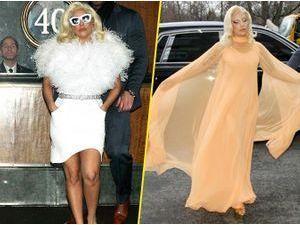 Photos : Lady Gaga : flocon de neige ou pêche Melba ? Son look laisse perplexe !