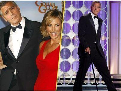 Photos : Golden Globes 2012 : George Clooney : d'humeur à rire, il se moque de Brad Pitt sur scène !