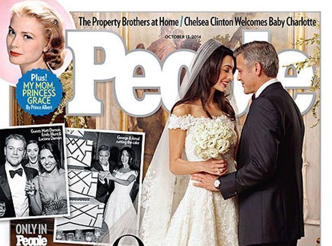 Amal Alamuddin : ses premières images en robe de mariée aux côtés de son mari !