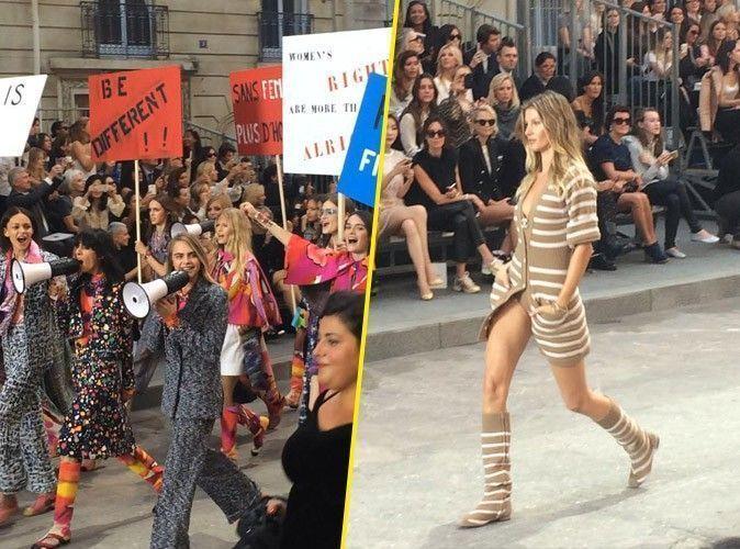 Photos : Fashion Week : Cara, Gisele, Kendall… Manifestion féministe sur le boulevard Chanel !