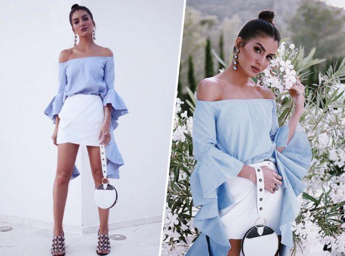 Camila Coelho : épaules dénudées et mini jupe, elle affronte l'été avec style