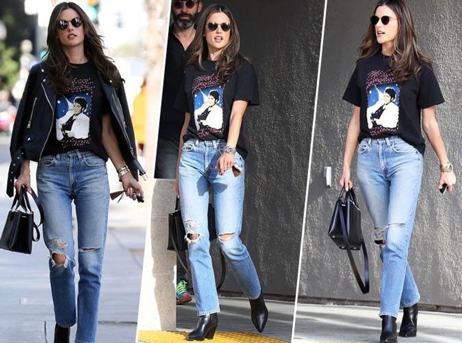 Alessandra Ambrosio : Mom jean, bottines noires, veste en cuir et sac griffé... on copie son look en moins cher !