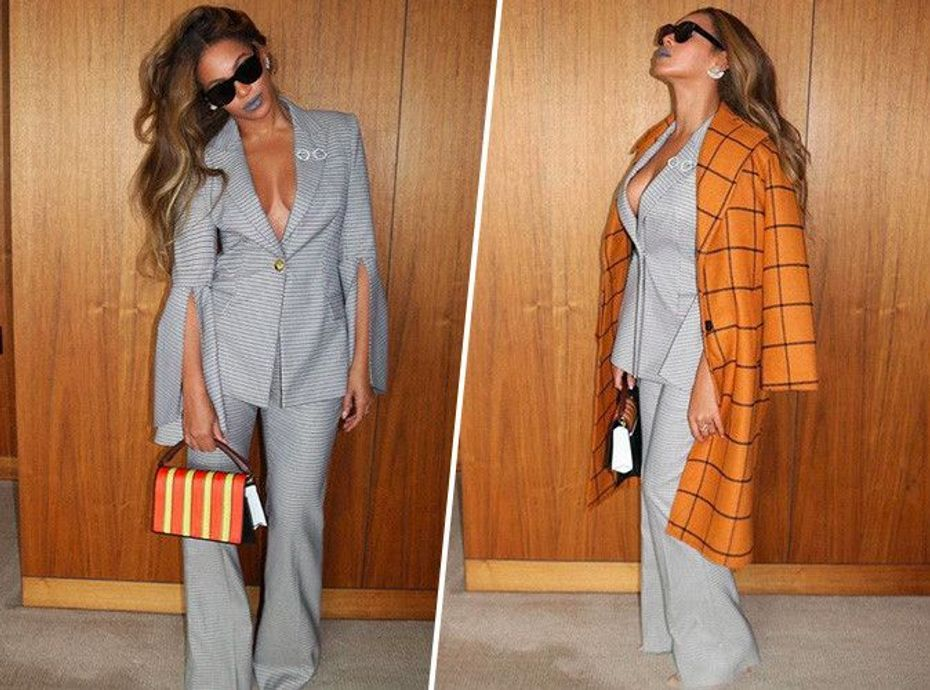 Beyoncé : total look gris souris de working-girl... On copie son style sexy en moins cher !
