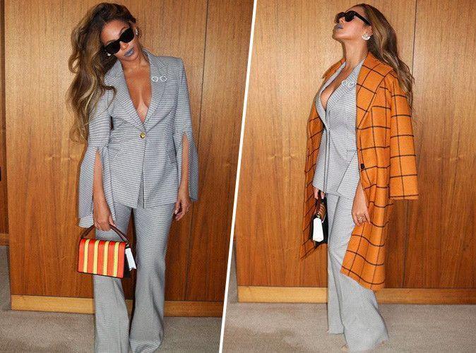 Beyoncé : total look gris souris de working-girl... On copie son style sexy en moins cher !