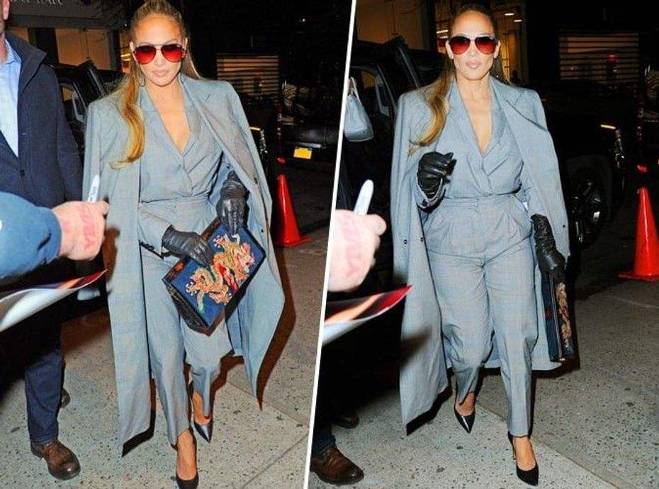 Jennifer Lopez : on craque pour son total look gris et on le copie en moins cher !