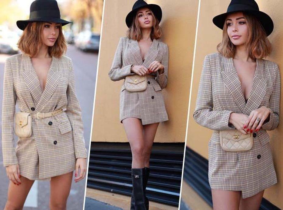 Nabilla Benattia : Robe blazer à carreaux, bottes, chapeaux... on copie son look d'automne sexy chic !